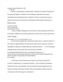 dissertation rhinocéros eugène ionesco