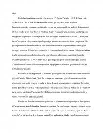 dissertation promesse synallagmatique de vente