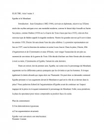 dissertation electre giraudoux