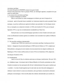 dissertation sur les facteurs de la coexistence pacifique