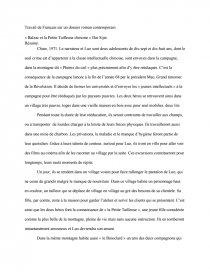 dissertation sur balzac et la petite tailleuse chinoise