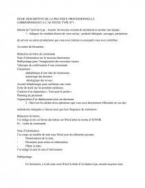 Fiche Descriptive De La Pratique Professionnelle Assurer Les Travaux Courants De Secretariat Et Assister Une Equipe Note De Recherches Dissertation