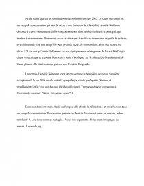 acide sulfurique amélie nothomb dissertation