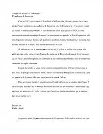 Analyse Du Poème Lisolement Dalphonse De Lamartine