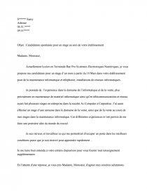 Lettre De Motivation Pour Un Stage En Bac Pro Sen Rapports