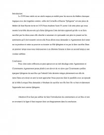 Introduction De Commentaire Sur Iphigenie De Jean Racine