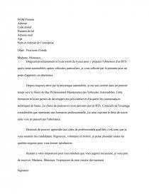 Lettre De Motivation Bts Ava Après Vente Automobile