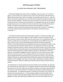 dissertation philosophie la culture nous humanise-t-elle