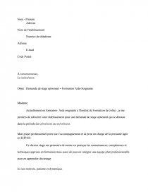 Demande De Stage Optionnel Formation Aide Soignante Lettre