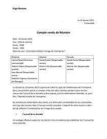 Modele Compte Rendu De Reunion Cours Capetin1122
