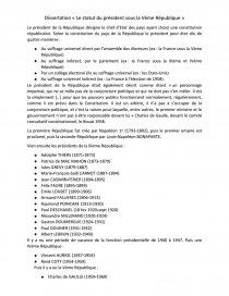 le statut du president sous la 5eme republique dissertation