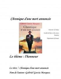 L Honneur Dans Chronique D Une Mort Annoncee De Marquez Dissertation Nawar Khadour