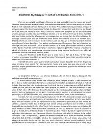 L Art Est Il Devoilement D Une Verite Dissertation Mathia Chouvier Qu Ce Que La
