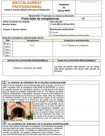 Fiche E Rapport De Stage Vitisbar Dissertation Justine Marshall - Fiche bilan de competences bac pro cuisine