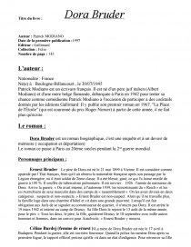 dissertation sur dora bruder