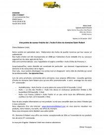 Lettre Commerciale L Huile D Olive Du Domaine Saint Robert