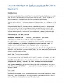 Lecture Analytique De Parfum Exotique De Baudelaire