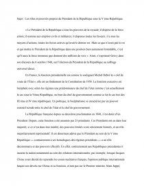 le role du president sous la 5eme republique dissertation
