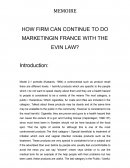 HOW FIRM CAN CONTINUE TO DO MARKETING IN FRANCE WITH THE EVIN LAW?