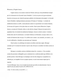 dissertation sur rhinocéros de ionesco