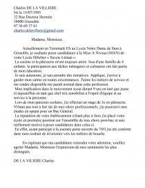 Lettre De Motivation Pour Un Lycée Hôtellier Fiche