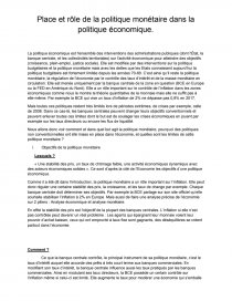 dissertation sur la politique monetaire de la bce