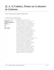 Voltaire Poème Sur Le Désastre De Lisbonne Fiche