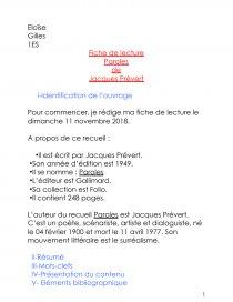 Jacques Prévert Paroles Fiche De Lecture Eloïse Gilles