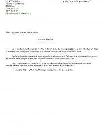 Lettre De Motivation Demande De Stage D Observation